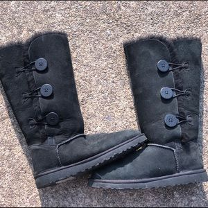 black tall buttoned UGGS